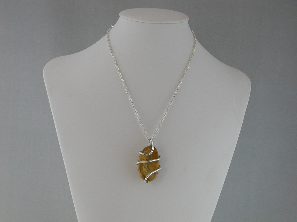 Silver Wire Wrapped Picture Jasper Pendant Necklace