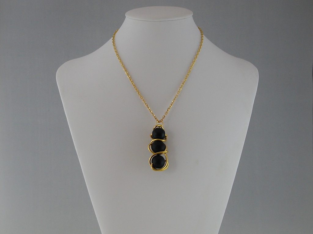 Gold Wire Wrapped Black Wooden Beads Pendant Necklace