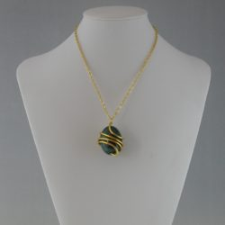 Wire Wrapped Ceramic Green Egg Gold Chain Necklace