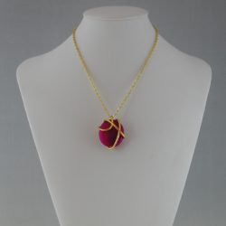 Gold Wire Wrapped Fuchsia Oval Bead Pendant Necklace