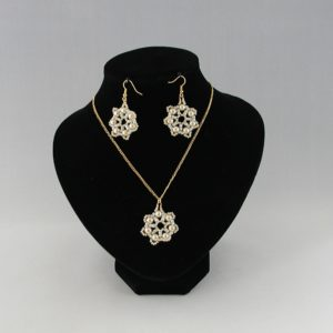 Cream Pearl Snowflake Necklace Ear Rings Set