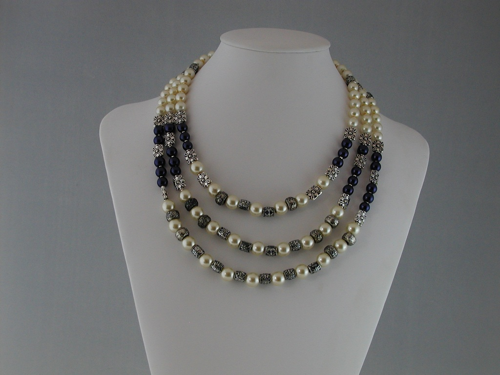 Dark Blue Pearls Cream Pearls Three Strand Necklace