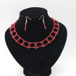 Red Crystal Beads Red Seed Beads Choker Necklace Ear Rings