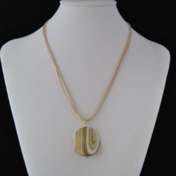 Fawn Cord Striped Pendant Necklace