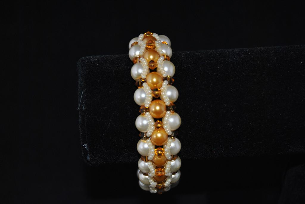Cream Golden Pearls Topaz Bi-cones Wide Cuff Bracelet