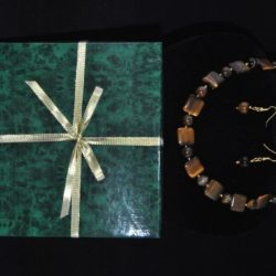 Tiger's Eye Necklace Ear Rings Two Piece Set
