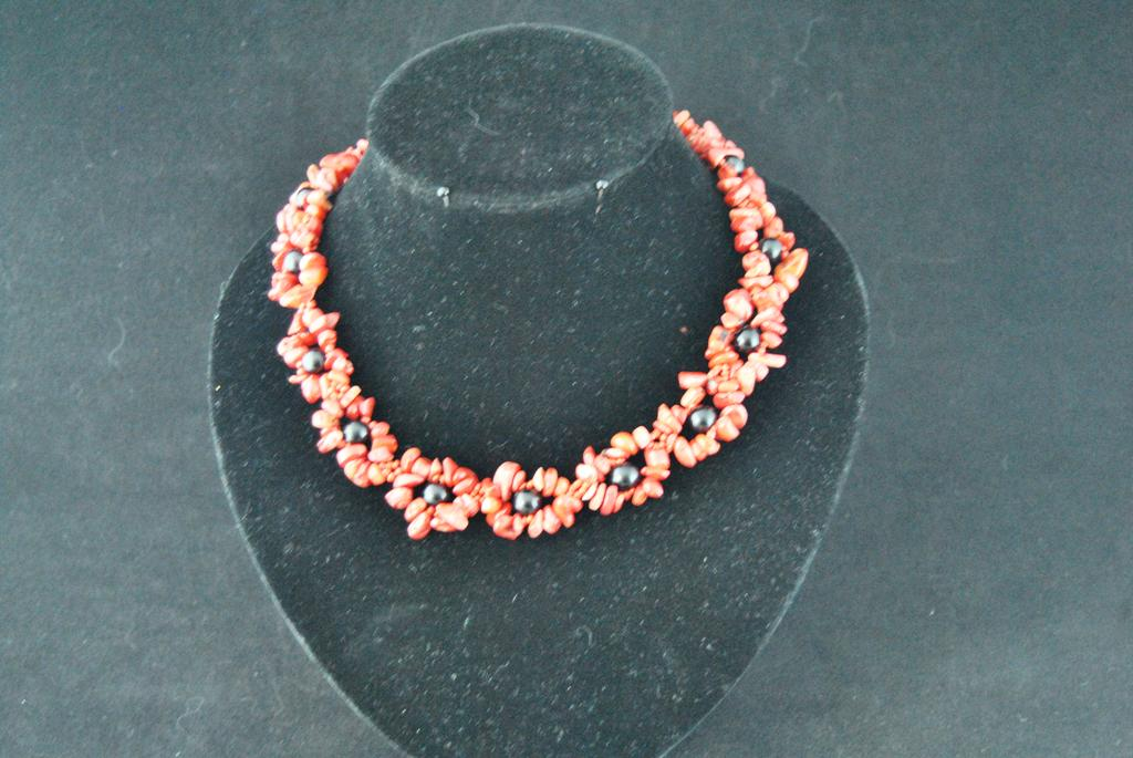 Red Coral Black Pearl Choker Necklace