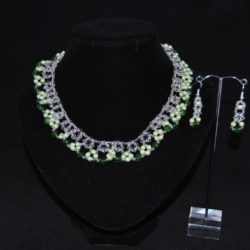 Crystal Pale Green Pearls Emerald Choker Necklace Ear Rings Set