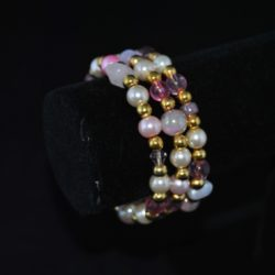 Mixed Cream Pink Gold Memory Wire Bracelet