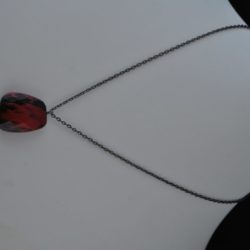Black Red Acrylic Pendant Black Chain Necklace