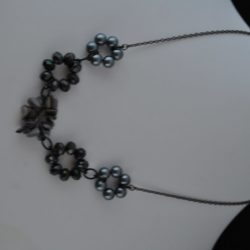 Five Large Bead Circles Black Chain Necklace