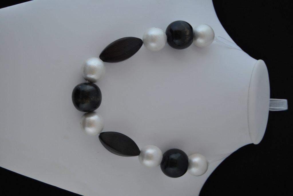 Black White Wooden Beads White Organza Ribbon Necklace