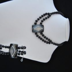 Black Pearls Black Gray Acrylic Lozenge Necklace Bracelet Set