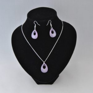Silver Chain Pear Drop Shaped Lavender Dangles Necklace Ear Rings