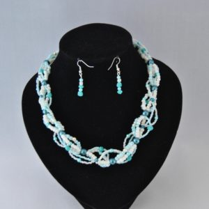 Cream Blue Six Strand Seed Bead Necklace Ear Rings Set