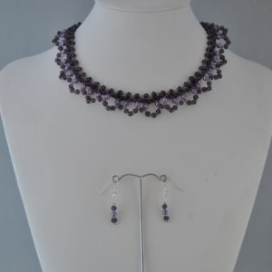 Amethyst Bi-cones Purple Pearls Choker Necklace Ear Rings Set