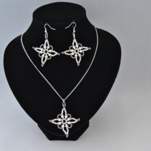 Cream Pearl Lilac Cream Seed Beads Snowflake Necklace Ear Rings Set