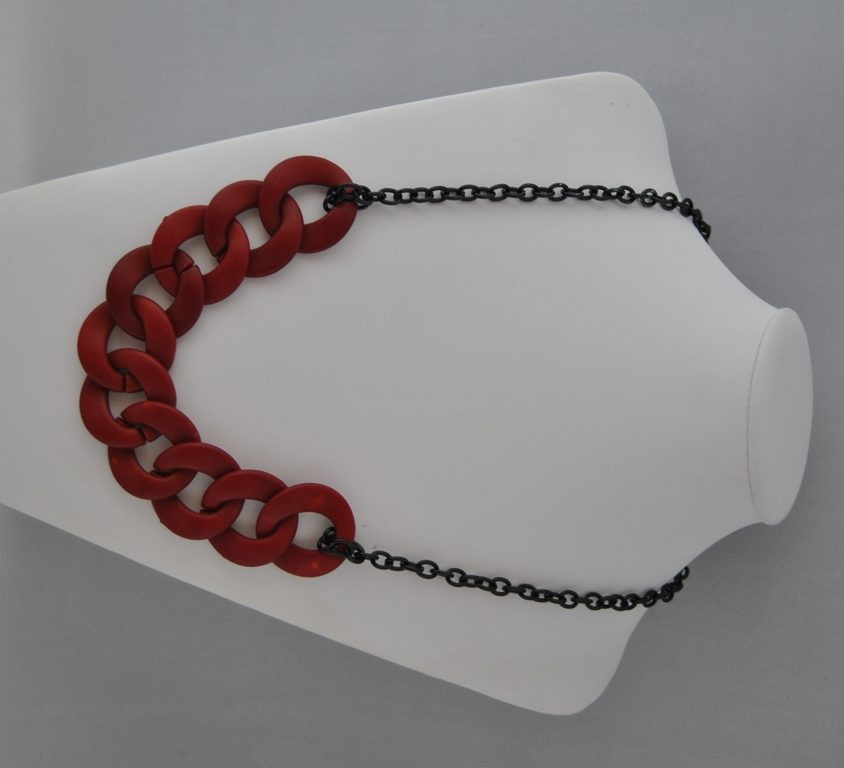 Burgundy Rings Black Chain Chunky Necklace
