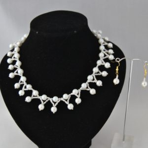 White Pearls Dangles Necklace Ear Rings Set