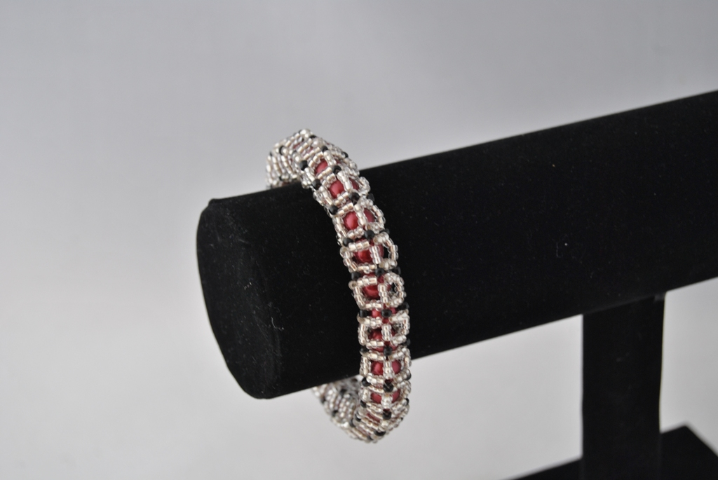 Burgundy Pearls Silver Seed Beads Caged Bangle Bracelet