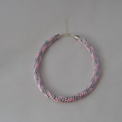 Gray Pink Heart Pattern Kumihimo Necklace