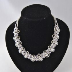 Gray Pearls Silvery Seed Beads Loopy Choker Necklace