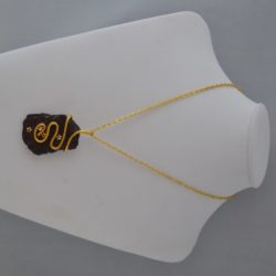 Gold Wire Wrapped Burgundy Slate Pendant Necklace