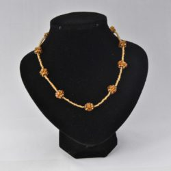 Golden Seed Bead Linked Spheres Necklace