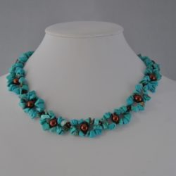 Turquoise Chips Chocolate Pearl Choker Necklace