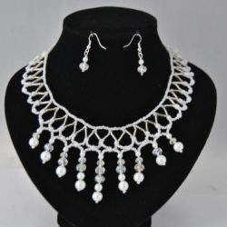 White Pearls Swarovski Crystals Dangles Necklace Ear Rings Set