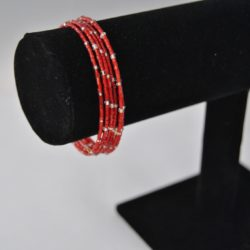 Small Red Bugle Bead Memory Wire Bracelet