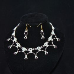 Cream Pearls Amethyst Rondelle's Dangles Necklace Ear Rings Set