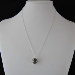 Tibetan Filigree Silver Sphere Pendant Necklace