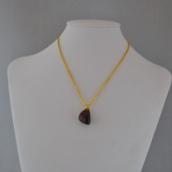 Red Mottled Agate Pendant Gold Chain Necklace