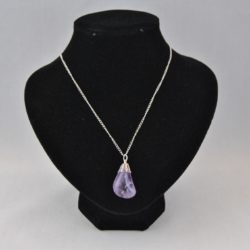 Small Amethyst Pendant Silver Chain Necklace