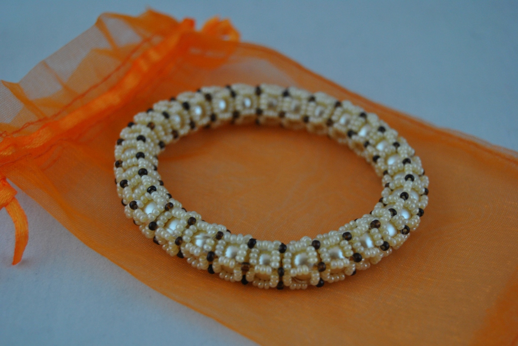 Cream Pearls Cream Seed Beads Caged Bangle Bracelet