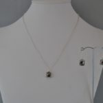 Silver Square Dangles Necklace Ear Rings