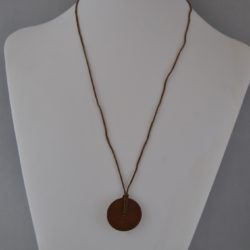 Brown Wooden Do Nut Bead Cotton Cord Pendant Necklace