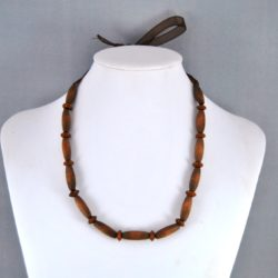 Brown Barrel Wooden Beads Organza Ribbon Necklace