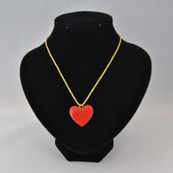 Red Enamel Heart Pendant Gold Chain Necklace