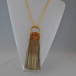 Gold Leather Fringe Pendant Gold Chain Necklace