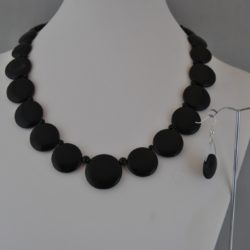 Black Acrylic Disks Necklace Ear Rings Set