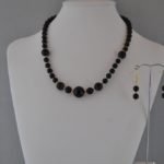 Black Beige Mottled Acrylic Beads Necklace Ear Rings