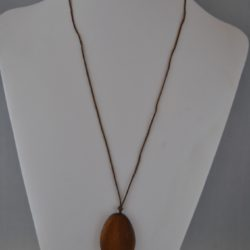 Brown Wooden Oval Bead Brown Cotton Cord Pendant Necklace