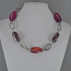 Burgundy Beige Chunky Beads Necklace