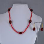 Red Seed Bead Linked Spheres Necklace Ear Rings