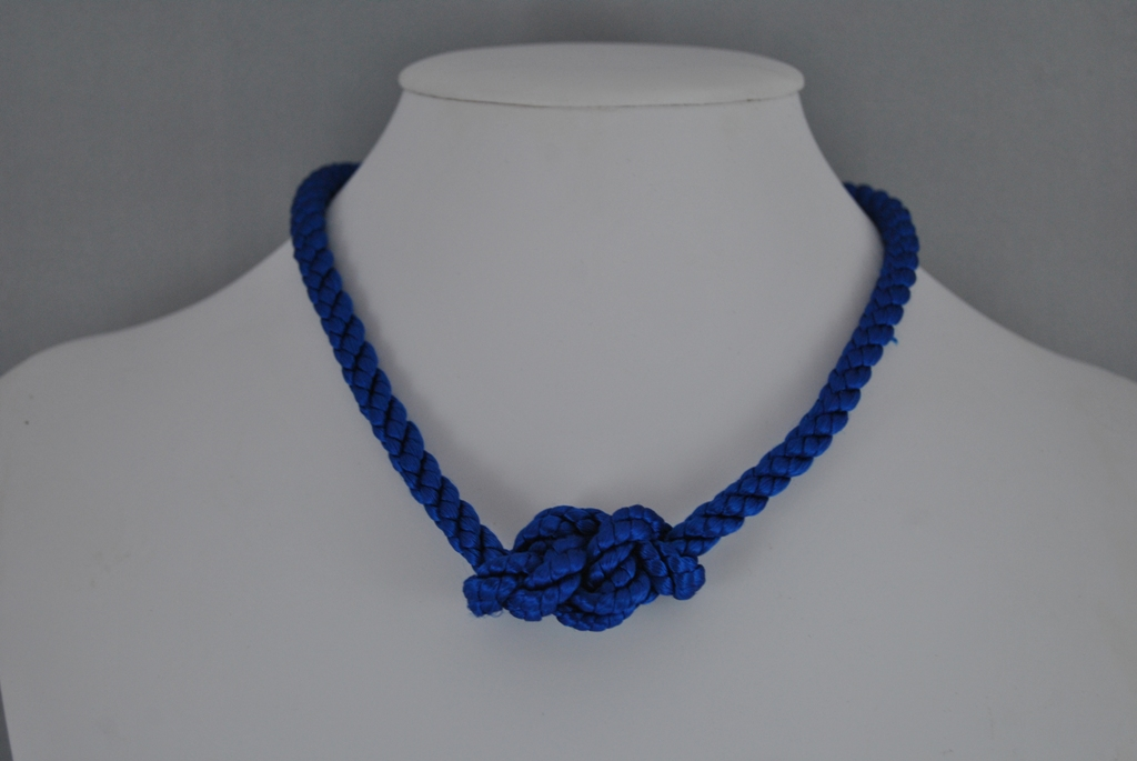 Chunky Blue Silky Cord Eternal Knot Necklace