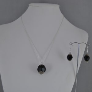 Black Spheres Silver Chain Necklace Ear Rings