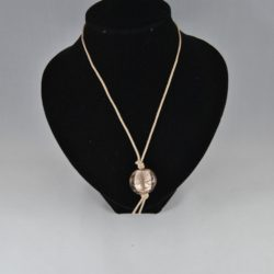 Beige Frosted Lamp Work Bead Pendant Cotton Cord Necklace