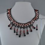 Black Red Dangles Necklace Ear Rings Set